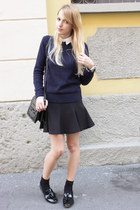 navy Zara sweater - white Zara shirt - black Zara bag - black Zara loafers