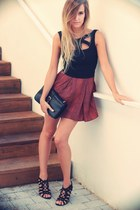 ruby red Mango skirt - black OASAP bag - black OASAP top