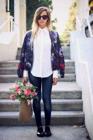 navy Zara jeans - white Zara shirt