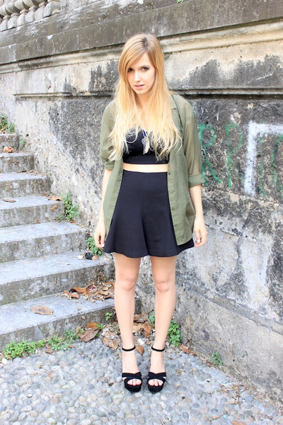olive green H&M shirt - silver Sfera necklace - black Zara skirt