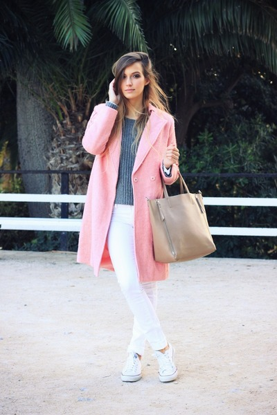 bubble gum OASAP coat - white Mango jeans - heather gray Zara sweater