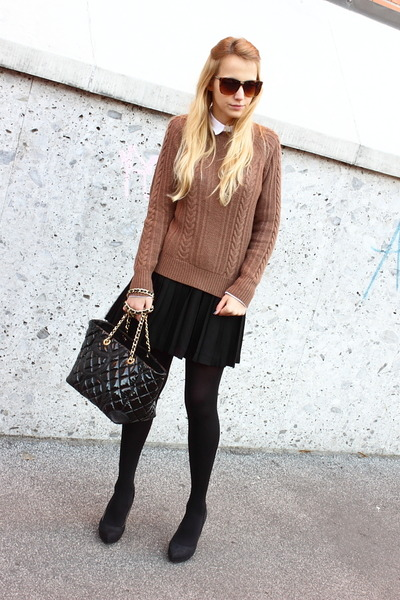 black Zara heels - light brown Zara sweater - white Zara shirt