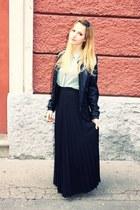 black Primark skirt - black Zara boots - aquamarine Mango blouse