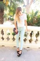 white Zara t-shirt - aquamarine Zara pants