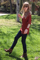 crimson Hispanitas boots - navy French Connection jeans - brick red Mango blouse