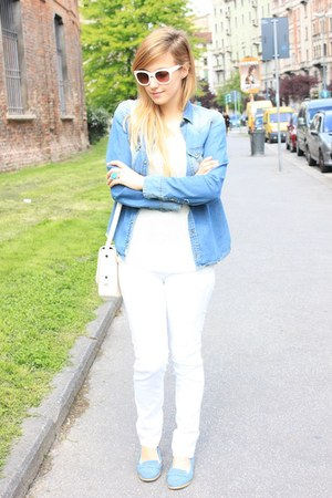 white H&M sweater - sky blue Zara shirt - white Zara bag