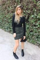 olive green Zara skirt - black Zara top