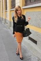 black Purificacion Garcia bag - black H&M belt - tawny Zara skirt