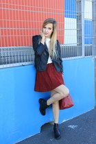 ruby red OASAP skirt - black asos jacket - white Zara top