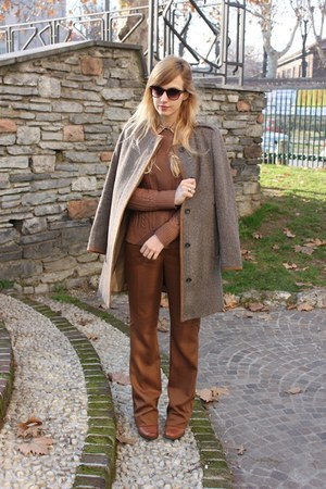 brown Mango shirt - dark brown Hispanitas boots - light brown Zara coat