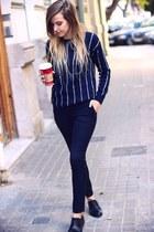 navy Mango coat - black vagabond shoes - navy Mango sweater - navy Mango pants