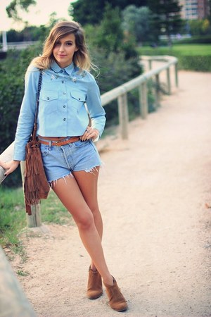 light blue OASAP shirt - camel Mango bag - sky blue Levis shorts