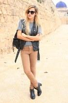 black H&M vest - black Zara bag - camel Primark pants