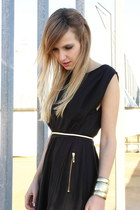 black Mango dress - bronze Primark belt - bronze Primark bracelet