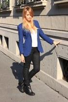 blue Zara blazer - black H&M boots - white Zara shirt - black H&M pants