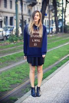 navy Sheinside sweatshirt - black q2 skirt