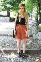 burnt orange Primark skirt - black Cambridge Satchel Company bag