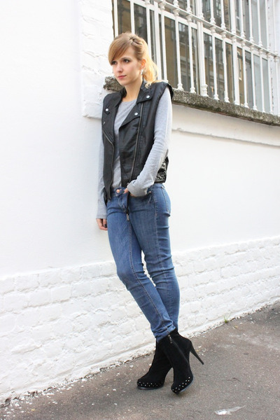 black H&M vest - black Mango boots - blue H&M jeans - heather gray H&M top