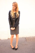 gray Zara skirt - black BLANCO jacket - black Zara heels - bronze H&M necklace