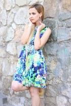 blue Zara dress - yellow Clarks sandals - white H&M bracelet