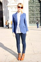blue Zara blazer - dark brown Hispanitas boots - navy French Connection jeans