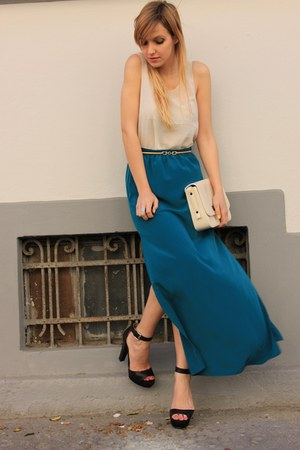 teal Primark skirt - ivory Zara bag - black Zara sandals - bronze Primark belt