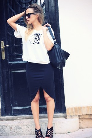 white OASAP top - black Fiorelli bag - black OASAP skirt