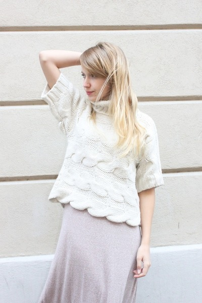 cream French Connection sweater - light pink Zara skirt