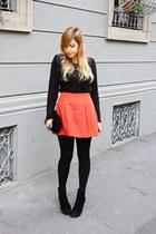 carrot orange asos skirt - black Mango boots - black H&M bag - black H&M jumper