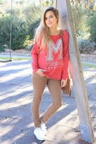 red pull&bear sweatshirt - camel Mango bag - white Converse sneakers