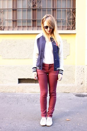 navy Primark jacket - crimson pull&bear pants - white Zara flats
