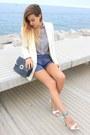 Eggshell-mango-blazer-white-zara-shirt-navy-zara-bag-navy-zara-shorts
