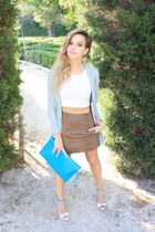 tan Zara skirt - light blue H&M jacket - blue asos bag - Mango earrings