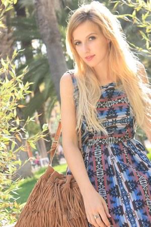 camel Mango bag - navy Sugarlips dress - camel Mango sandals