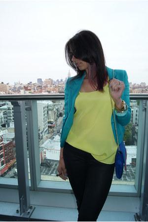 blue H&M purse - black rag&bone jeans - turquoise blue H&M blazer