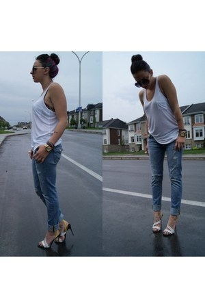 cotton on top - True Religion jeans - Christian Louboutin heels