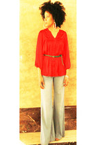 Bar III blouse - bell bottoms vintage jeans - H&M belt