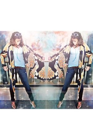 denim skinnies mek denim jeans - raffia awaken Charles David Wedges sandals - Wi