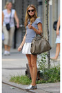 Silver-shoes-heather-gray-bag-white-skirt-blue-top