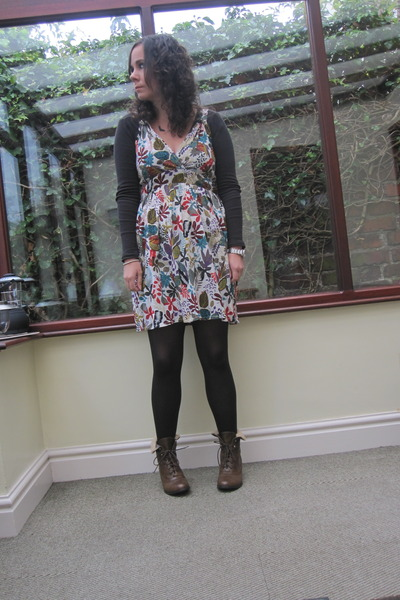 dark brown tesco boots - vintage dress