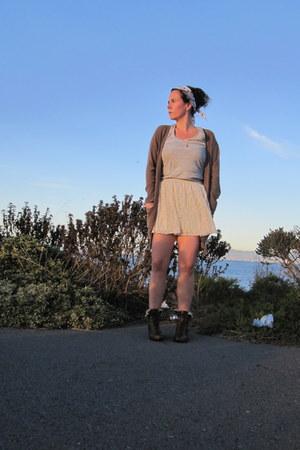neutral H&M skirt - dark brown Florence & Fred boots - camel Asda cardigan
