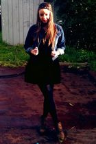 blue vintage jacket - black DK dress - brown Rubi shoes boots