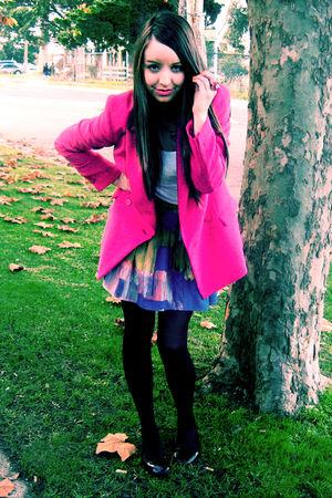 pink Forever New blazer - white supre top - blue Sportsgirl skirt - black Target