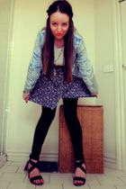 blue Sportsgirl jacket - white tightrope top - blue Valleygirl skirt - black sup