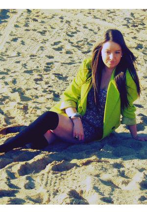 green vintage blazer - pink Sportsgirl dress - beige Rubi shoes shoes