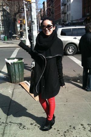 black oak coat - black H&M sweater - cheetah couture leggings - BCBG boots - Mar