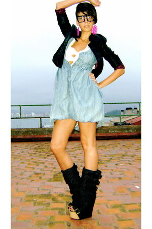 blue gift dress - black Irregular Choice shoes - black Zara jacket