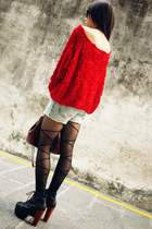 red American Apparel blouse - black Jeffrey Campbell boots
