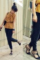 mustard vintage blouse - black Zara pants - gold Charles & Keith heels - navy H&