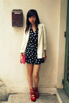 H&M blazer - Topshop purse - H&M wedges - Topshop romper - pull&bear necklace